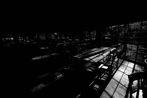 inside night restaurant interior empty dark cafeteria darkness shadow light