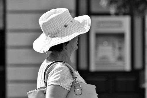 side portrait clothing woman hat street pensioner outdoors person pretty  veil scarf gorgeous