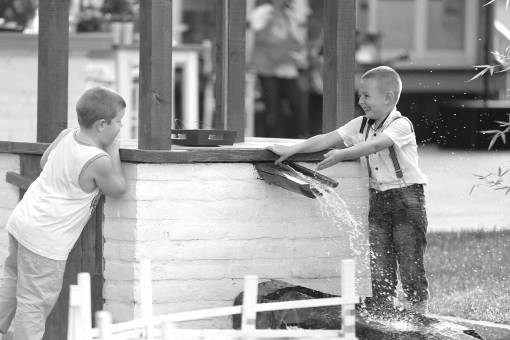 smiling children playful boys friends outdoors child fun