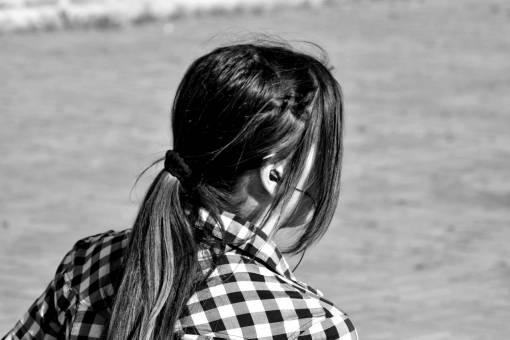 adolescence brunette portrait park earphones relaxation outdoors nature