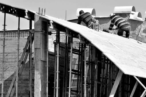 construction worker building concrete architectural buildings industry rooftop outdoors architecture wooden defects structure safety ladder roof wood