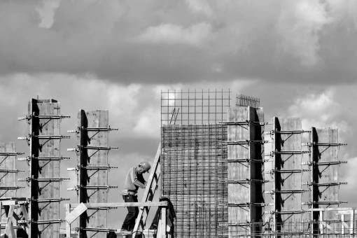 construction worker ladder tall building industry metal workman architecture
