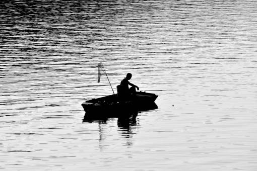 fishing boat silhouette shadow lake gear fisherman water river fishnet device