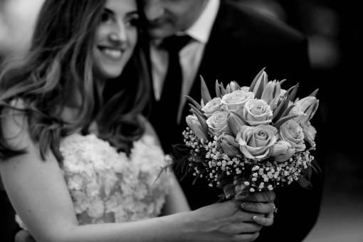gift woman hugging roses boyfriend girlfriend tenderness bouquet wedding
