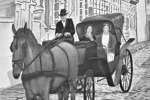 graffiti elderly cavalry carriage outdoors member horse