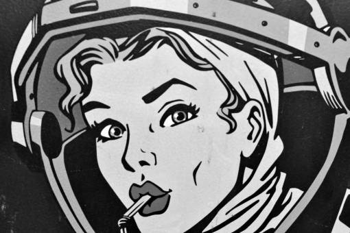 graphic retro illustration pretty music portrait face marketing woman cc0