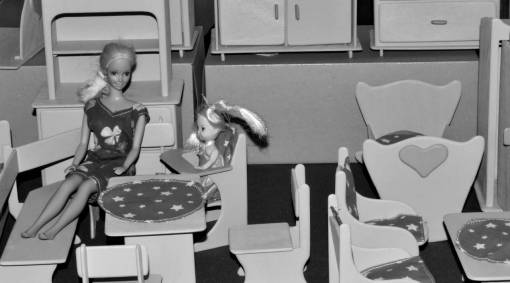 handmade toys furniture room indoors chair woman
