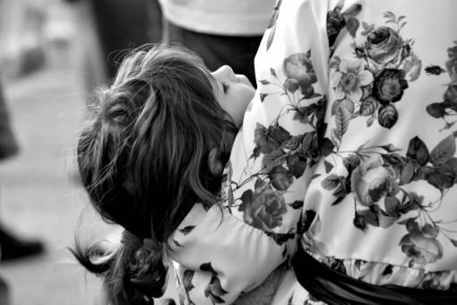 hug daughter sleeping wedding mother woman happiness childhood bouquet