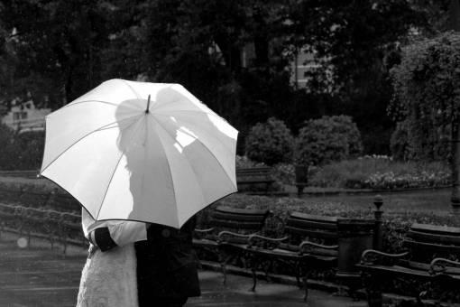 kiss romantic hug rain weather umbrella bride garden  lamp pretty