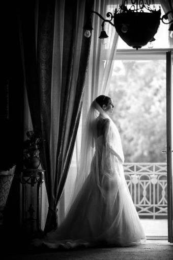 luxury living balcony wait bride monochrome