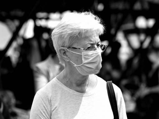 mask face coronavirus eyeglasses hygiene disease infectious protection marketplace portrait woman