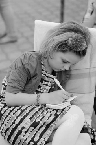 schoolgirl blonde pretty outfit summer outdoors notebook pencil child  children