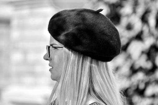 side french pretty blonde hat woman portrait outdoors