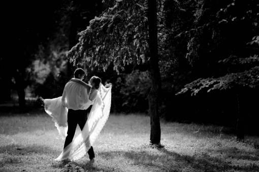 spectacular groom moment bride dress wedding grass forest equipment