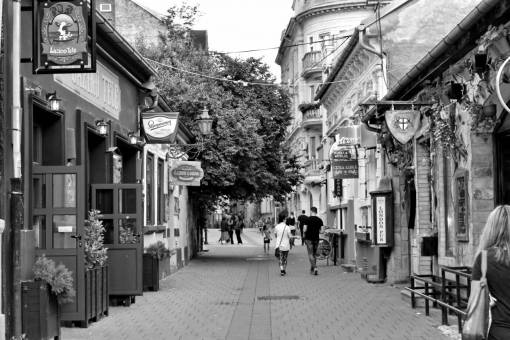 street shopping town crowd architecture building pavement tourist segmentation instance medium