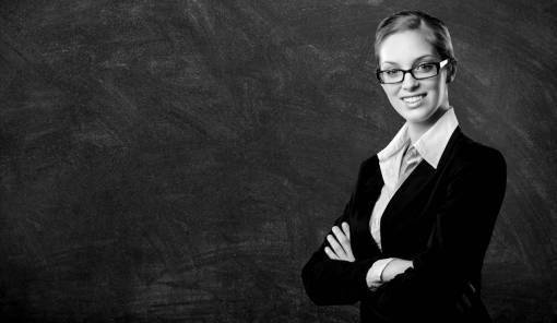 blackboard  business woman  professional