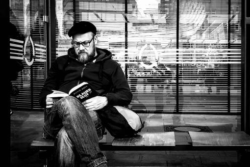 man  book  person  black and white  people