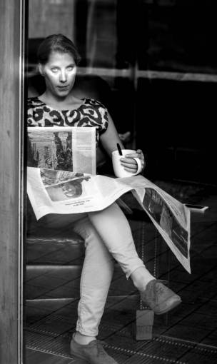 person  cafe  black and white  woman  street
