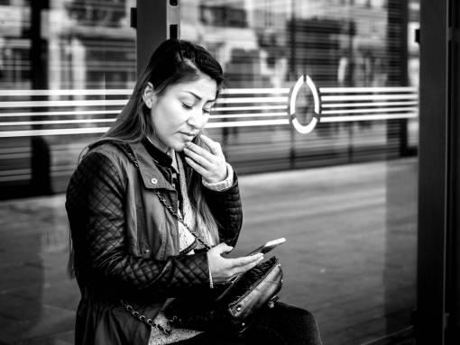 smartphone  man  person  black and white