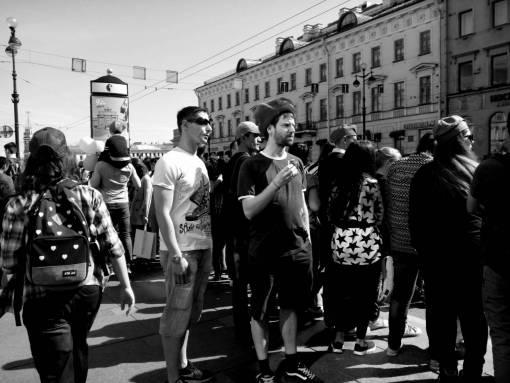 pedestrian  people  road  street  crowd