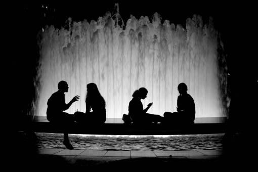 silhouette  light  people  night  city