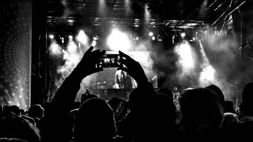 silhouette  music  people  smoke  crowd
