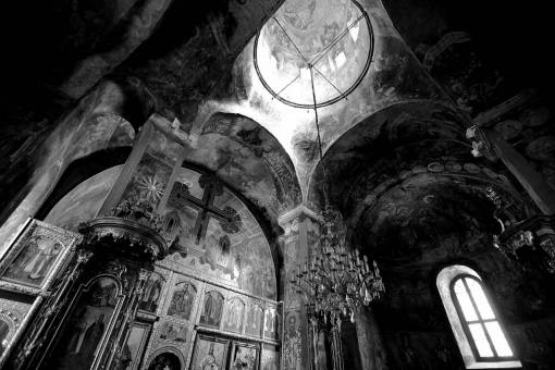 monastery medieval interior orthodox icon altar serbia architecture church inside
