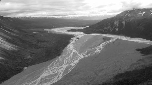 overlooking mountains altitude glacier range water mountain landscape snow nature  valley