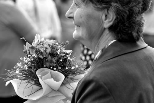 businesswoman granny bouquet pensioner businessperson ceremony arrangement decoration flowers woman