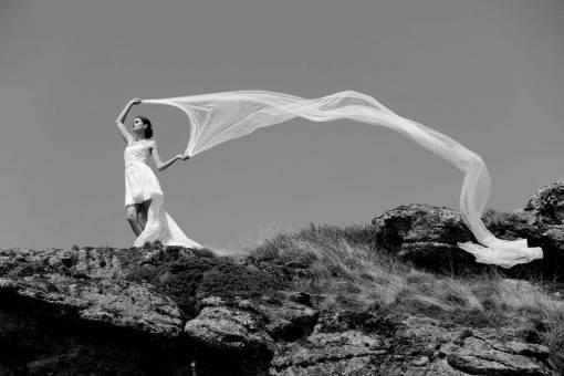 veil wind bride hill slope ascent mountain